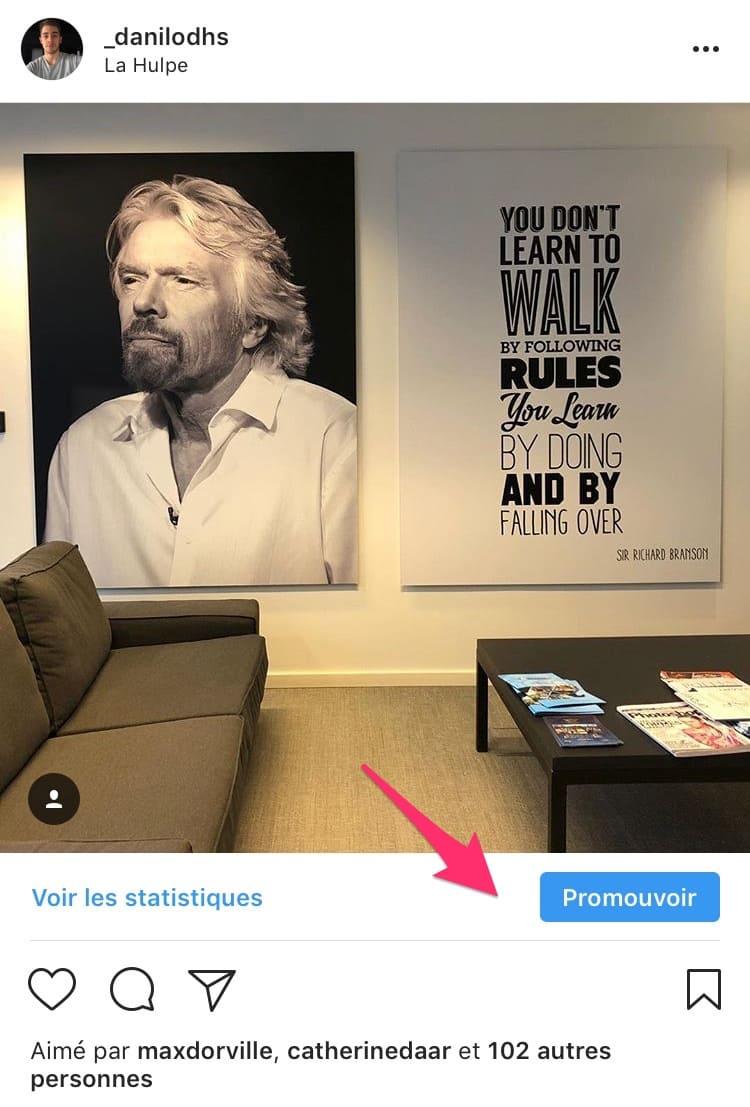 promouvoir publication instagram