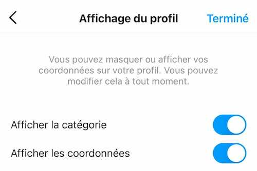 Afficher la catégorie de votre compte Instagram dans votre bio
