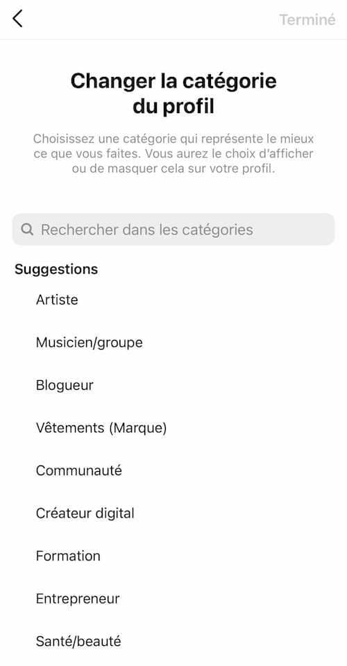 Comment choisir votre catégorie Instagram