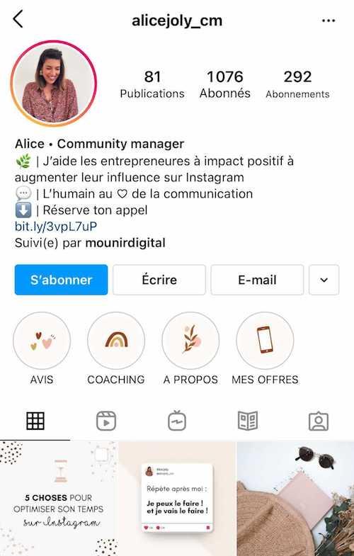 Une bio Instagram de consultant très bien optimisée