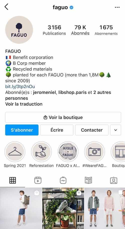 Une bio Instagram bien structurée sur le compte de FAGUO