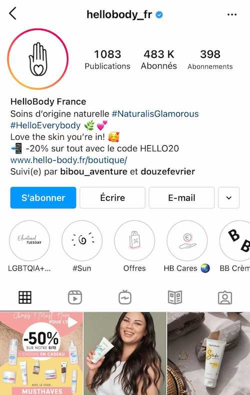 L'appel à l'action sur le compte de HelloBody