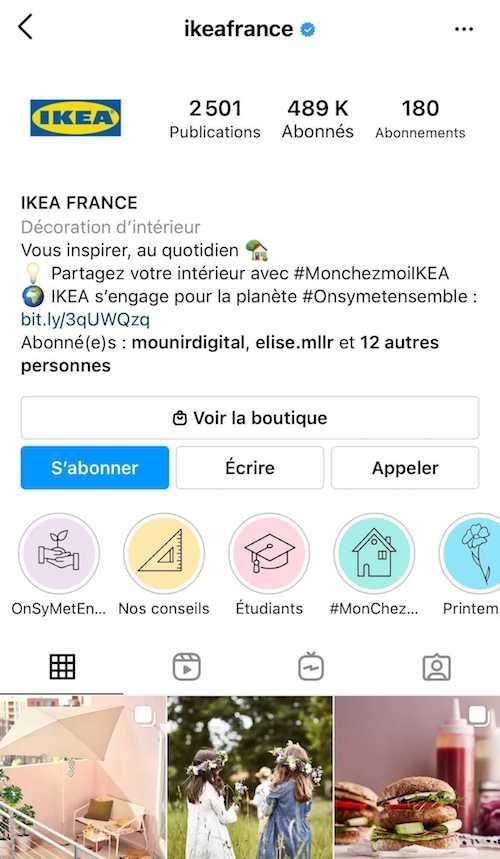 La description Instagram du compte Ikea France