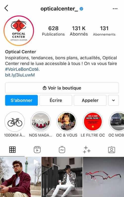La bio Instagram du compte d'Optical Center