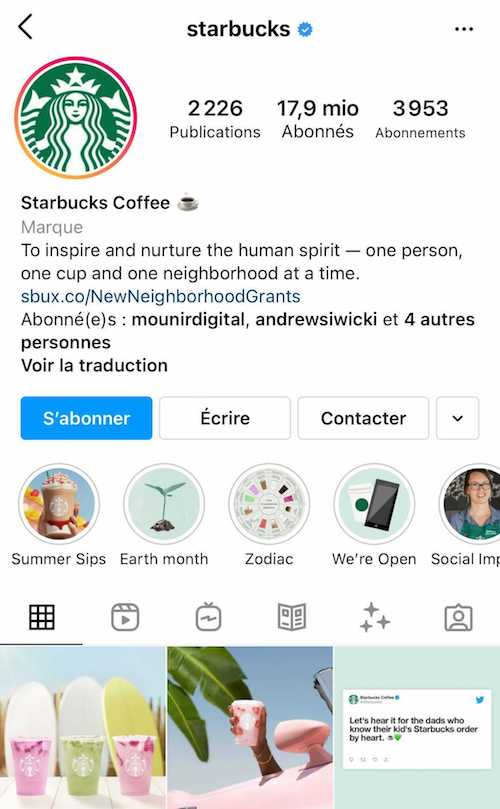 La bio Instagram de Starbucks reprend la mission de l'entreprise