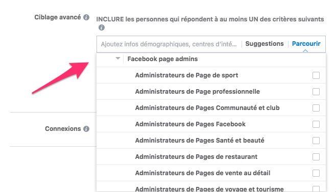 watch 46628 fc81d En cliquant sur « Parcourir », « Comportement » et ensuite « Activités  numériques », vous devriez trouver l option « Facebook Page admins ».