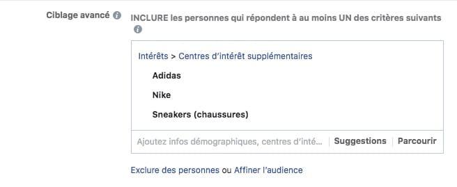 d82db108f672e Dans ce cas précis, mon ciblage est moins pertinent puisque maintenant  j inclus les personnes qui aiment les Pages de Nike ou Adidas ou sont «  intéressées » ...