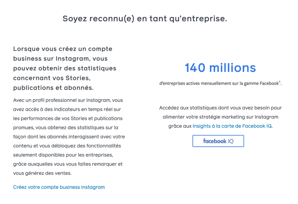 Les statistiques Instagram sont disponibles uniquement sur des comptes Business